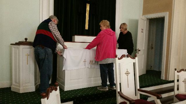 Prepariang the altar